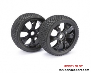 "Ruedas Wheel Set LP Buggy ""Dirt"" black 1:8 (2 pcs)"