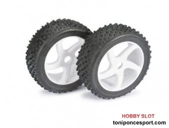 "Ruedas Wheel Set Buggy ""5 Spoke / Dirt"" white 1:8 (2 pcs)"