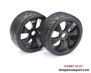 Ruedas Wheel Set LP Buggy ?Street? black 1:8 (2 pcs)